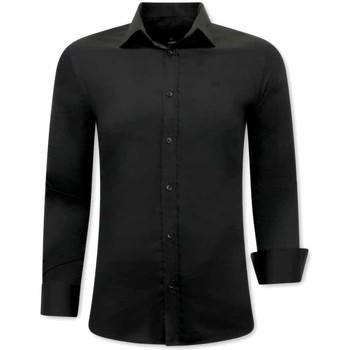Kleidung Herren Langärmelige Hemden Tony Backer Klassische Slim Schwarz