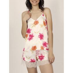 Kleidung Damen Pyjamas/ Nachthemden Admas Pyjama-Shorts Tank-Top Thai Flowerss Elfenbein