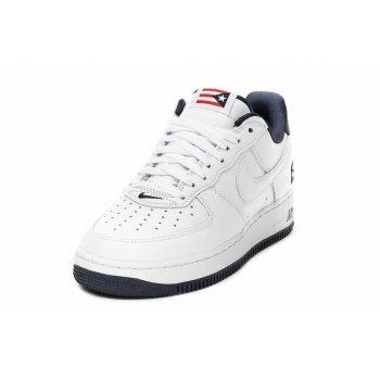Schuhe Sneaker Low Nike Air Force 1 Low Puerto Rico True White/True White-Obsidian-Comet Red