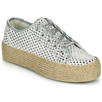 Schuhe Damen Sneaker Low Café Noir DROMA Weiss / Silbern