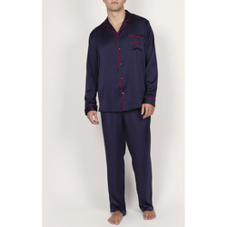Kleidung Herren Pyjamas/ Nachthemden Admas For Men Pyjama-Satin-Hosenhemd Classic Admas Blau Marine