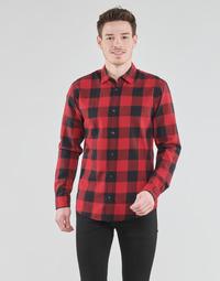 Kleidung Herren Langärmelige Hemden Jack & Jones JJEGINGHAM Rot / Schwarz