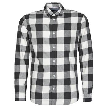 Kleidung Herren Langärmelige Hemden Jack & Jones JJEGINGHAM Weiss / Schwarz