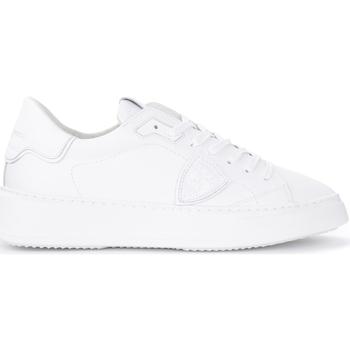 Schuhe Herren Sneaker Philippe Model Sneaker Temple L in weißem Leder Weiss