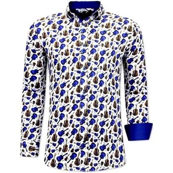 Kleidung Herren Langärmelige Hemden Tony Backer Klassische Gitaar Print Blau