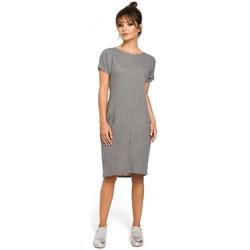Kleidung Damen Kleider Be B050 Midikleid mit Eingrifftaschen - grau