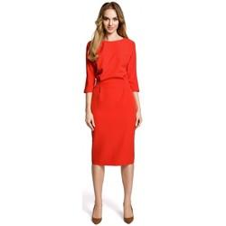 Kleidung Damen Kurze Kleider Moe M360 Mittellanges Kleid mit locker sitzendem Oberteil - rot