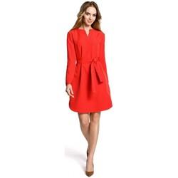 Kleidung Damen Kurze Kleider Moe M361 Hemdkleid mit Bindegürtel - rot