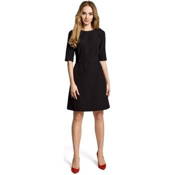 Kleidung Damen Kurze Kleider Moe M362 Einfaches Kleid in A-Linie mit Gürtel - schwarz