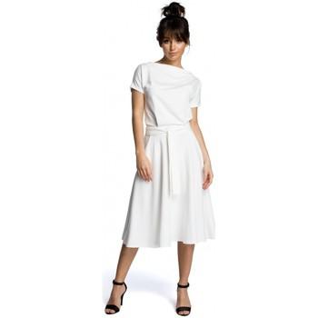 Kleidung Damen Kurze Kleider Be B067 Ausgestelltes Kleid - ecru