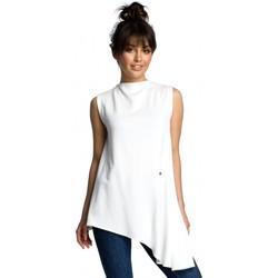 Kleidung Damen Tops / Blusen Be B069 Asymmetrisches ärmelloses Top - ecru