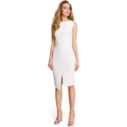Kleidung Damen Kurze Kleider Style S105 Ärmelloses Kleid mit Faux-Wrap-Effekt - ecru