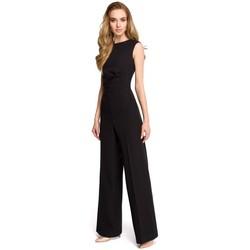 Kleidung Damen Overalls / Latzhosen Style S115 Jumpsuit mit weitem Bein - schwarz