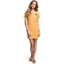Kleidung Damen Kurze Kleider Moe M374 Minikleid mit Abzeichen - gelb