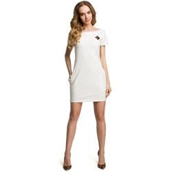 Kleidung Damen Kurze Kleider Moe M374 Minikleid mit Aufnäher - ecru