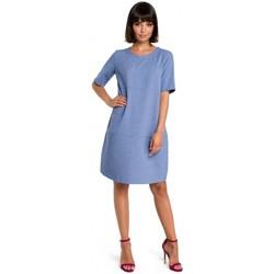 Kleidung Damen Kurze Kleider Be B082 Luftiges Etuikleid - blau