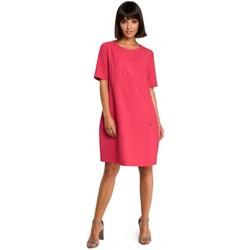 Kleidung Damen Kurze Kleider Be B082 Luftiges Etuikleid - rosa