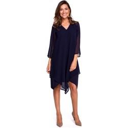 Kleidung Damen Kurze Kleider Style S159 Chiffonkleid mit asymmetrischem Saum - navyblau