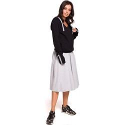 Kleidung Damen Sweatshirts Be B127 Pullover mit Kapuze und Wickeltasche - schwarz