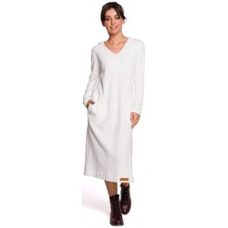 Kleidung Damen Maxikleider Be B128 Maxikleid mit Kapuze - ecru