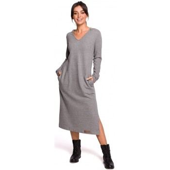 Kleidung Damen Maxikleider Be B128 Maxikleid mit Kapuze - grau