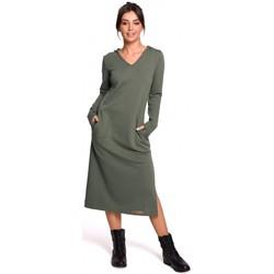 Kleidung Damen Maxikleider Be B128 Maxikleid mit Kapuze - khaki