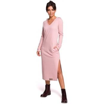 Kleidung Damen Maxikleider Be B128 Maxikleid mit Kapuze - Puder