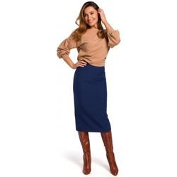 Kleidung Damen Röcke Style S171 Bleistiftrock mit hoher Taille - navyblau