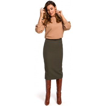 Kleidung Damen Röcke Style S171 Bleistiftrock mit hoher Taille - khaki