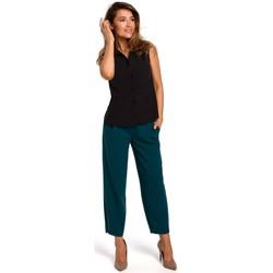 Kleidung Damen Tops / Blusen Style S172 Ärmelloses Hemd - schwarz
