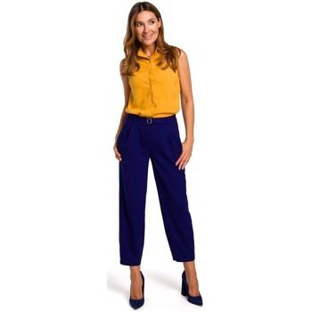Kleidung Damen Tops / Blusen Style S172 Ärmelloses Hemd - gelb