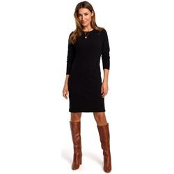 Kleidung Damen Kurze Kleider Style S178 Langärmeliges Pulloverkleid - schwarz