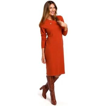 Kleidung Damen Kurze Kleider Style S178 Langärmeliges Pulloverkleid - Ingwer