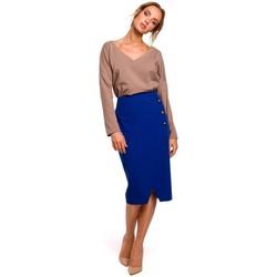 Kleidung Damen Röcke Moe M454 Bleistiftrock mit Zierknöpfen - königsblau
