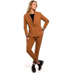 Kleidung Damen Anzugjacken Moe M459 Blazer mit gestreiften Rippenbündchen - Karamell
