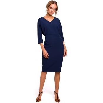 Kleidung Damen Kurze Kleider Moe M464 Kleid mit Fledermausärmeln - navyblau