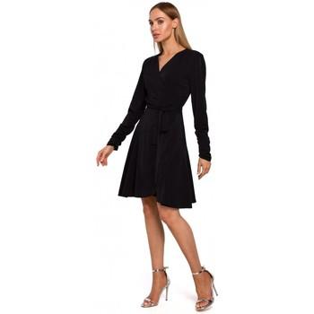 Kleidung Damen Kurze Kleider Moe M487 Wickelkleid mit gerafften Ärmeln - schwarz