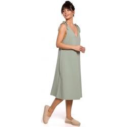 Kleidung Damen Kleider Be B148 Trapezkleid mit Bindebändern - pistazienfarben