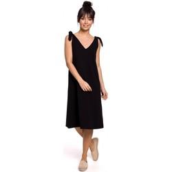 Kleidung Damen Kurze Kleider Be B148 Trapezkleid mit Bindebändern - schwarz