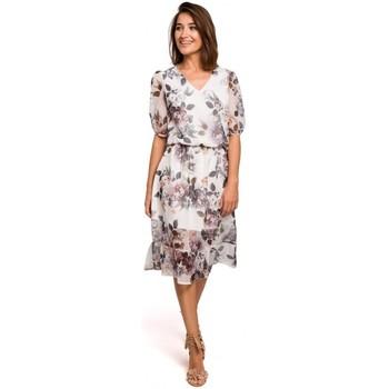 Kleidung Damen Kleider Style S215 Chiffonkleid mit Rüschensaum - Modell 1