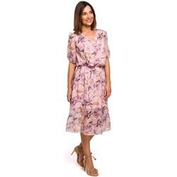 Kleidung Damen Kleider Style S215 Chiffonkleid mit Rüschensaum - Modell 2