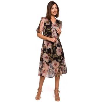 Kleidung Damen Kleider Style S215 Chiffonkleid mit Rüschensaum - Modell 3
