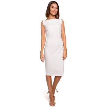 Kleidung Damen Kurze Kleider Style S216 Ärmelloses Bleistiftkleid - ecru