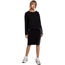 Kleidung Damen Tops / Blusen Moe M492 Hochgeschlossenes Pullover-Top mit Logostreifen - schwarz