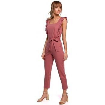 Kleidung Damen Overalls / Latzhosen Moe M507 Jumpsuit mit Rüschen - navy blau