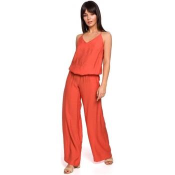 Kleidung Damen Overalls / Latzhosen Be B155 Jumpsuit mit weitem Bein - orange