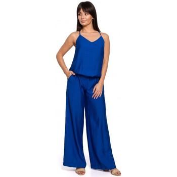 Kleidung Damen Overalls / Latzhosen Be B155 Jumpsuit mit weitem Bein - königsblau