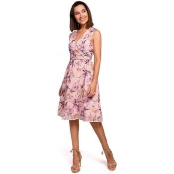 Kleidung Damen Kurze Kleider Style S225 Chiffonkleid mit tiefem Ausschnitt - Modell 3