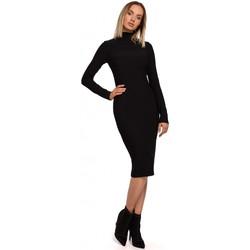Kleidung Damen Kurze Kleider Moe M542 Strickkleid mit Rollkragen - dunkelgelb