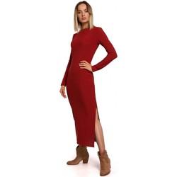 Kleidung Damen Maxikleider Moe M544 Maxikleid mit Beinausschnitt - ziegelrot
